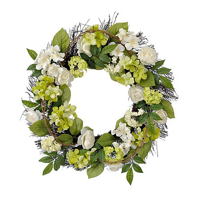 White and Green Hydrangea Mix Wreath