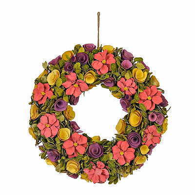 Wood Curl Flower Wreath