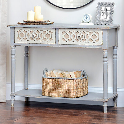 Burlap Scroll 2-Drawer Console Table
