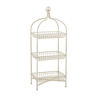Distressed White 3-Tier Wire Shelf
