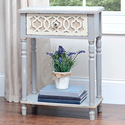 Burlap Scroll Accent Table