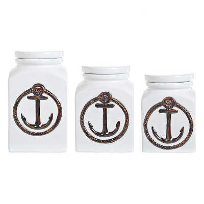 White Anchor Canisters, Set of 3