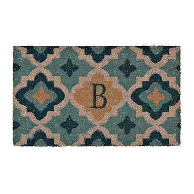 Aqua Quatrefoil Monogram B Doormat