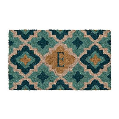 Aqua Quatrefoil Monogram E Doormat