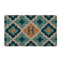 Aqua Quatrefoil Monogram H Doormat