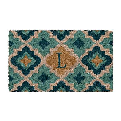 Aqua Quatrefoil Monogram L Doormat