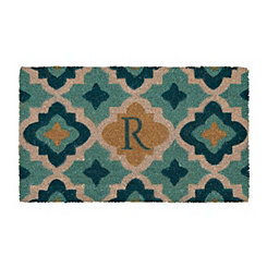 Blue Quatrefoil Monogram R Doormat