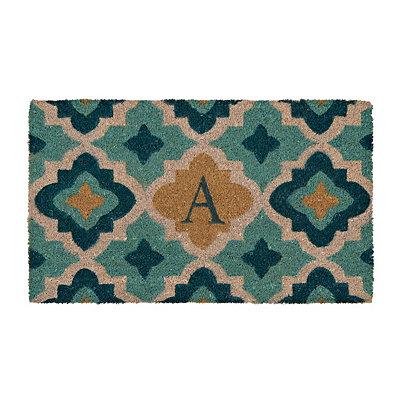 Aqua Quatrefoil Monogram A Doormat