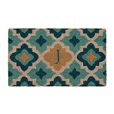 Aqua Quatrefoil Monogram J Doormat
