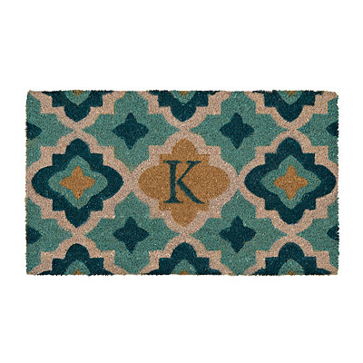 Aqua Quatrefoil Monogram K Doormat