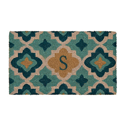 Aqua Quatrefoil Monogram S Doormat
