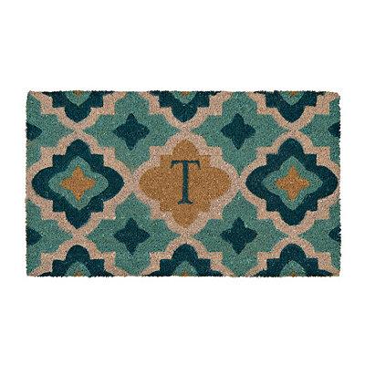 Aqua Quatrefoil Monogram T Doormat