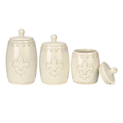 Distressed White Fleur-de-lis Canisters, Set of 3
