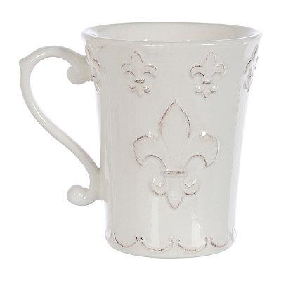 Distressed White Fleur-de-lis Mug