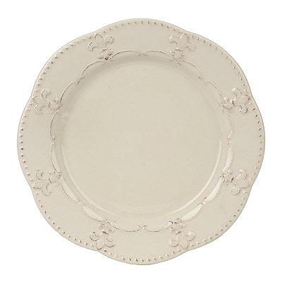 Distressed White Fleur-de-lis Plate