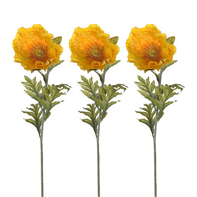 Yellow Poppy Stems, Set of 3