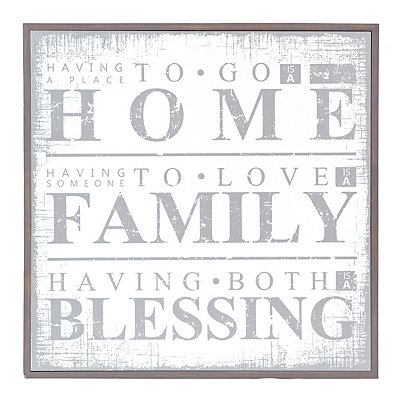 White Home Family Blessings Wooden Plaque