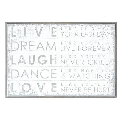 Whitewash Live Laugh Love Wooden Plaque