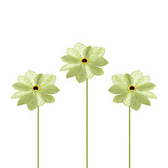 Green Burlap Daisy Stems, Set of 3