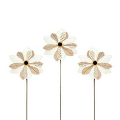 Natural Burlap Daisy Stems, Set of 3