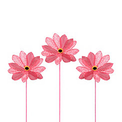 Pink Burlap Daisy Stems, Set of 3