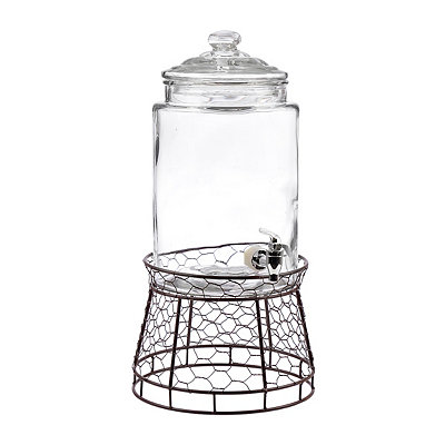 Beverage Dispenser with Chicken Wire Stand