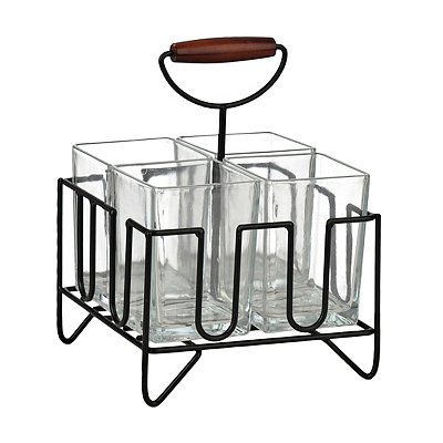 Square Glass and Metal Flatware Caddy