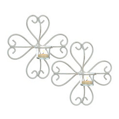 Distressed White Clover Sconces, Set of 2