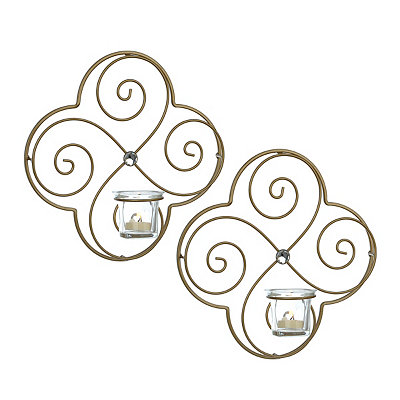 Gold Swirls Jeweled Sconces, Set of 2