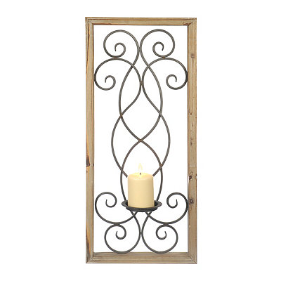 Wood-Framed Metal Swirls Sconce