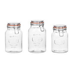 Glass Hinged Canisters, Set of 3