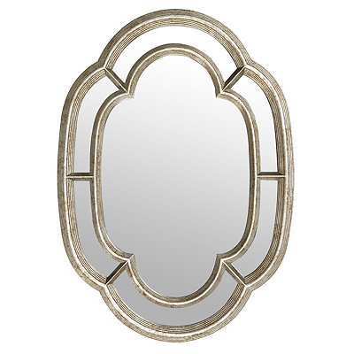 Antique Silver Oval Inlay Mirror