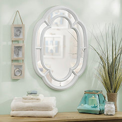 Distressed White Oval Inlay Mirror