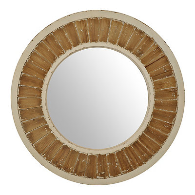 Distressed Cream Round Shutter Mirror
