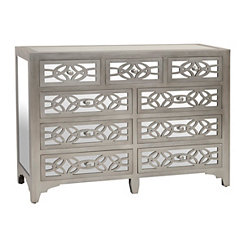Libby Silver Mirrored 9-Drawer Dresser