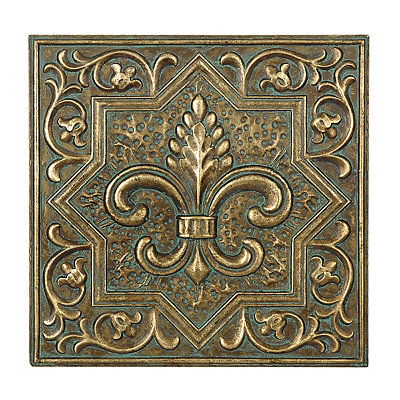 Gold and Turquoise Fleur-de-Lis Metal Plaque