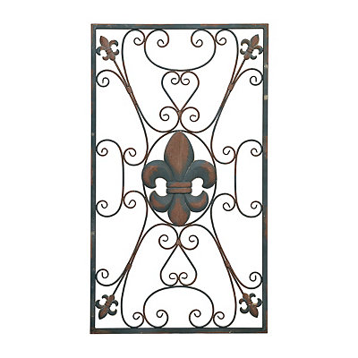 Distressed Fleur-de-Lis Scroll Metal Plaque