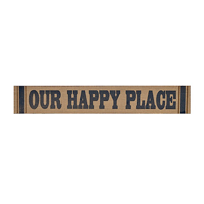 Burlap Our Happy Place Wall Plaque