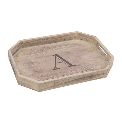 Whitewash Monogram A Wooden Tray