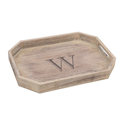 Whitewash Monogram W Wooden Tray