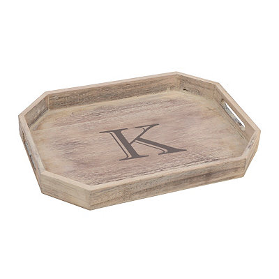 Whitewash Monogram K Wooden Tray