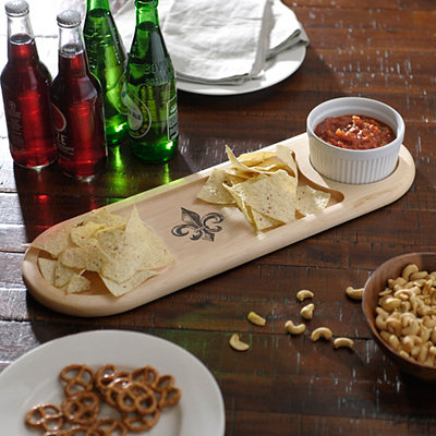 Fleur-de-lis Dip Bowl and Serving Board Set