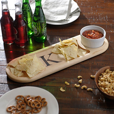 Monogram K Dip Bowl and Serving Board Set