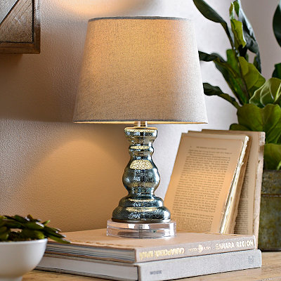Mini Blue Mercury Glass Table Lamp
