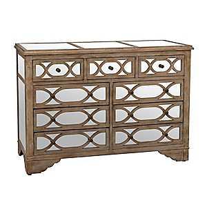 Lillian Champagne Mirrored 9-Drawer Dresser