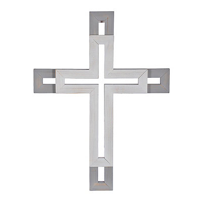 Gray and White Stacked Wood Cross
