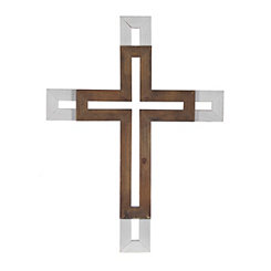 Brown and White Stacked Wood Cross