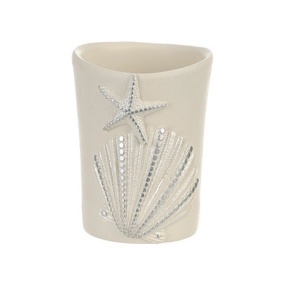 Ivory Sequin Shell Bathroom Tumbler
