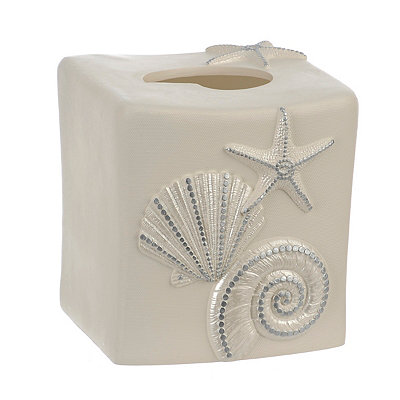 Coastal Ivory Shells Tissue Box Cover
