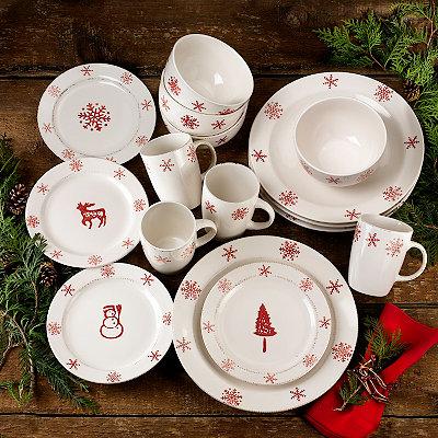 Birchwood Red and White 16-pc. Dinnerware Set